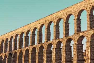 Photo of ancient Roman aqueduct in Segovia, Spain