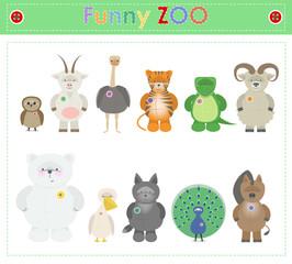 Animal Zoo, part three. Funny small plush animals. cartoon Vector