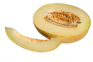 Melon in a cut on a white background. A piece of melon. Half of melon in the section.