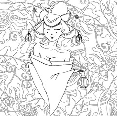 Stylized vector illustration of a beautiful geisha girl. Japanese girl. Zentangle. Doodle style. Can be used as adult coloring book, coloring page, card.
