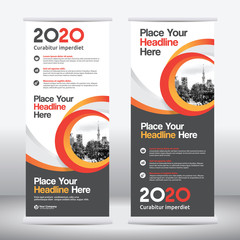 Yellow Color Scheme with City Background Business Roll Up Design Template.Flag Banner Design. Can be adapt to Brochure, Annual Report, Magazine,Poster, Corporate Presentation, Flyer, Website