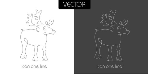 deer icon on white and black