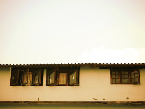 Low income house in sepia