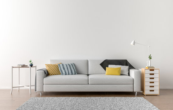 Empty living room with white wall in the background