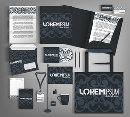 Dark blue corporate Identity. Set with green and pink design ele