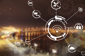 Industry 4.0 concept. Internet network on cityscape background