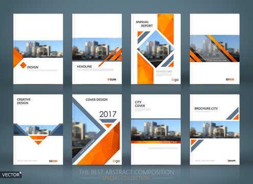 Abstract composition. White a4 brochure cover design. Info banner frame. Text font. Title sheet model set. Modern vector front page. Brand logo texture. Orange color figures image icon. Ad flyer fiber