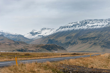 Empty Road and Mountain in Iceland