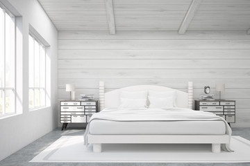 Double bed in a wooden room