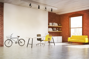 Home office with yellow sofa, toned