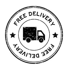 Grunge black free delivery with truck icon round rubber stamp