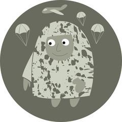Paratrooper comic. Flat avatar icon.