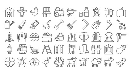 Farm icons set on white background. Harvest, dairy products, animals and gardening tools.
