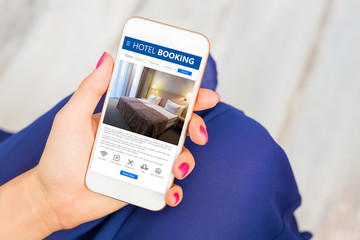Hotel booking app on smartphone