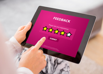 Customer Feedback Form on Tablet
