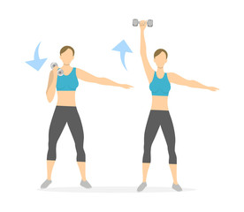 Arms exercise for women on white background. Workout for arms and hands with dumbbels.