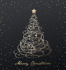 Christmas tree background created from golden ribbons and many s