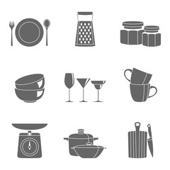 Kitchenware flat design silhouette icons vector collection