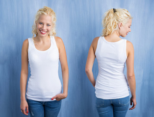 Woman in white tanktop on blue background