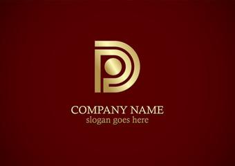 gold letter d line logo