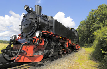 Steam train on island Rugen in Germany