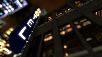 3D rendering City by night with hotel neon sign