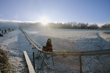 Winter bobsled track on Czech Central mountain, Czech Republic
