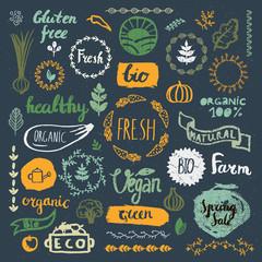 Set of hand drawn bio, organic, eco product logos, badges, tags. Handwritten healthy eat logotypes . Vegan, natural food and drink signs.
