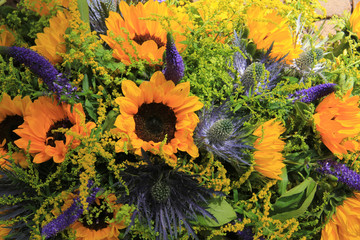 Blue and yellow Sunflower arrangement, Wedding decorations