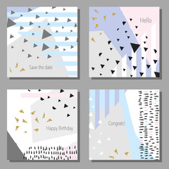 Set of artistic colorful universal cards. Cute style. Wedding, anniversary, birthday, holiday, party. Design for poster, card, invitation. Vector illustration