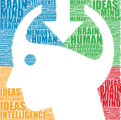 human head and brain vector silhouette tag cloud