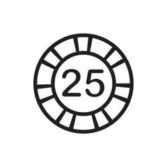 25 casino chip icon illustration
