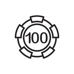 100 casino chip icon illustration