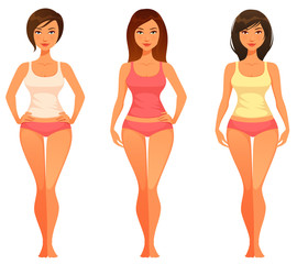 cartoon illustration of a young woman with healthy slim body
