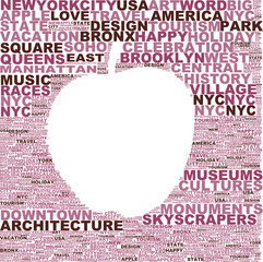 Apple-shaped tag cloud celebrating New York city with correlated words / New York city, the big apple tag cloud