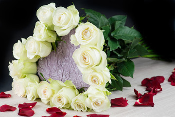 bouquet of white roses in the shape of heart