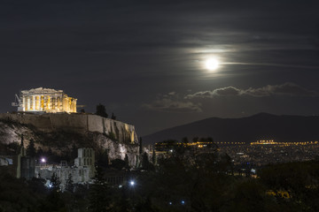 Full moon over the Acropolis of Athens