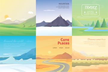 summer landscape set. mountains among the trees, vector illustration
