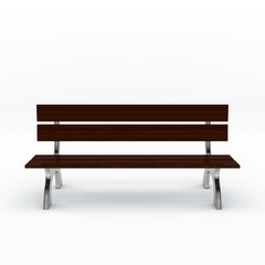 Park bench. Isolated on white background. 3D rendering illustrat
