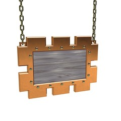 Blank wooden signboard with metallic border hanging on chain.