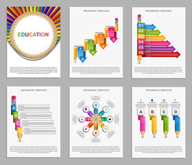 Collection infographics. Design elements. Infographics for education presentations or information banner.