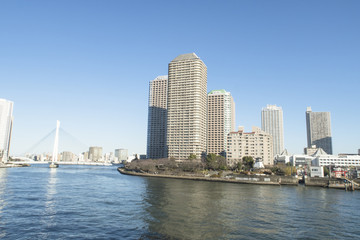 東京風景(佃大橋から佃島方面)