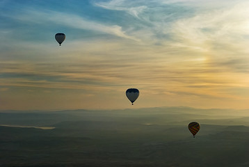 Cappadocia air balloons above hills