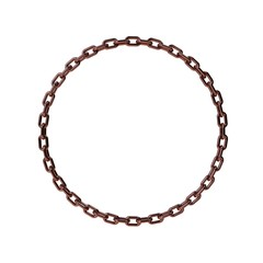 Copper chain in form of circle.3D rendering illustration.