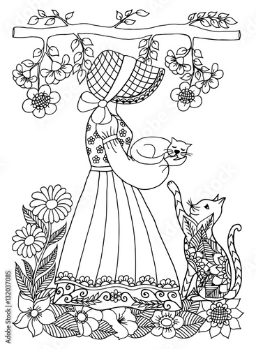 Vector Illustration Zentangl Girl With A Kitten On Arms Or Hand In The Flowers