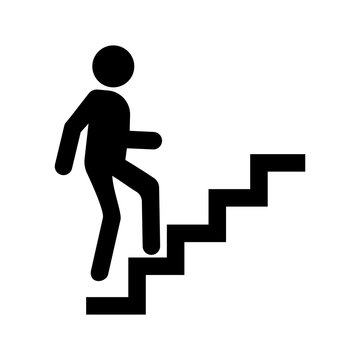 Career icon vector, man going up by stairs