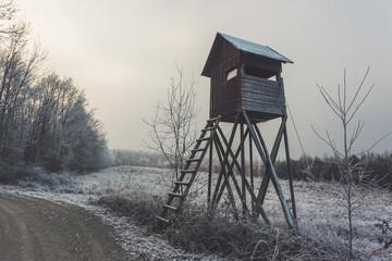 Hide by forest road. Winter rural landscape