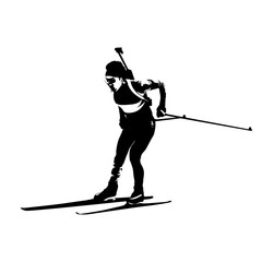Running biathlon athlete, abstract vector silhouette