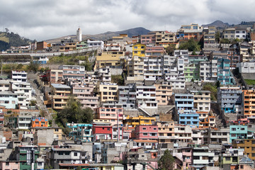 most of the residential neighborhoods in Quito Ecuador are on a steep hill