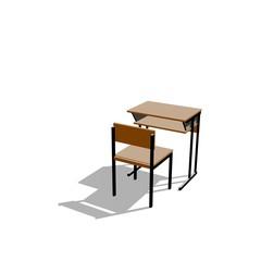 School desk. Isolated on white background. Cartoon style.